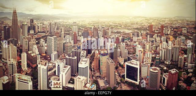 Retro filtered skyline of Kuala Lumpur, Malaysia. - Stock Image