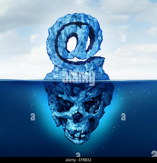 Email risk and internet communication danger as an iceberg shaped as an ampersand  e-mail symbol with a skull shape - Stock Image