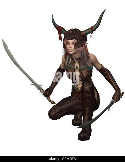Dragon Warrior Girl - crouching - Stock Image