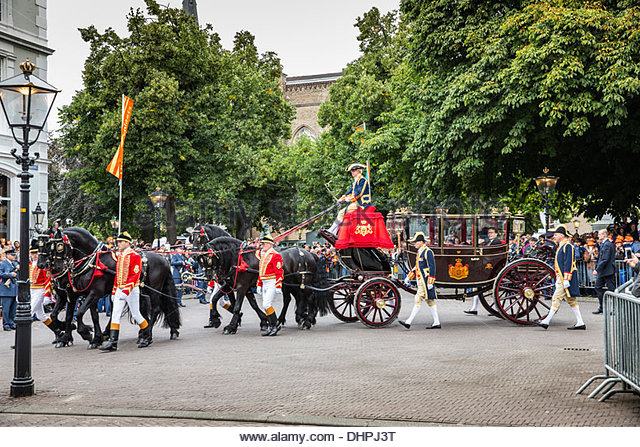 ... , Friesian horses royal coach in front of palace called - Stock Image