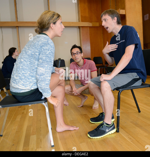 Jon Blake Hackler teaches a drama class at the Yale Summer School. - Stock Image