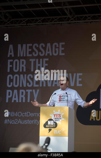 Manchester, UK. 4th October, 2015. TUC National Rally and March, Manchester, UK. Len McCluskey, Unite the Union's - Stock Image