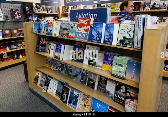 Aviation books at bookstore - USA - Stock Image