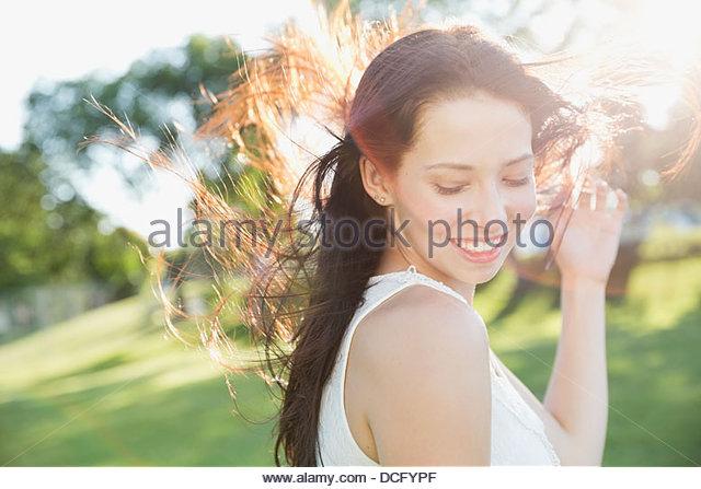 Portrait of teen girl outdoors - Stock Image