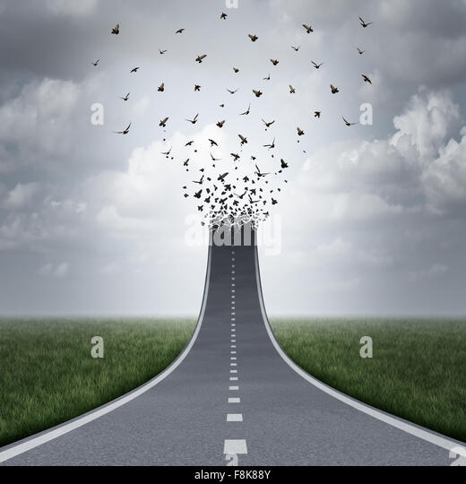 Driving freedom concept as a road or highway going up and transforming into flying birds as a business metaphor - Stock Image