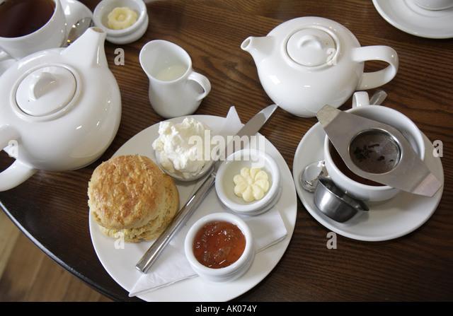 England UK Longhoughton Howick Hall Gardens 1782 Earl Grey Tea House scones - Stock Image