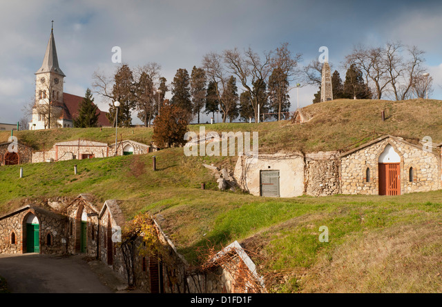 Wine cellars at wine cellar Straz location below Church of St. Gilles at village of Vrbice, Brnensko, Czech Republic, - Stock Image