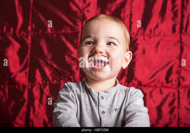 Portrait of a little boy dress up for halloween party. He is smiling - Stock Image