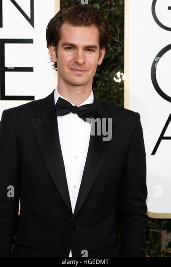 Los Angeles, California, USA. 08th Jan, 2017. Beverly Hills, Us. 08th Jan, 2017. Andrew Garfield arrives at the - Stock Image