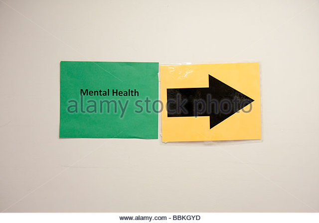 Miami Florida Liberty City Jessie Trice Community Health Center fair free care exam mental health sign arrow direction - Stock Image
