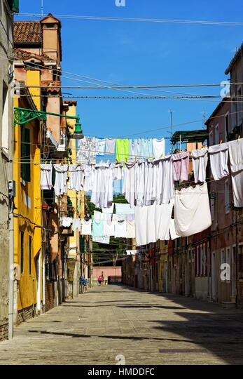 Street laundry in Castello district of Venice Italy - Stock Image