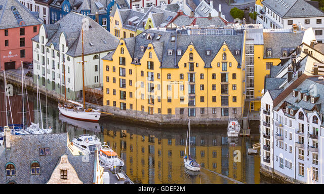 View from Aksla of Brosundet Canal and facade of Art Noveau District. Alesund, Norway,  More Og Romsdal - Stock Image