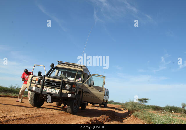 KAISUT, KENYA - May 17. A convoy of land cruisers seen on the Isiolo to Marsabit on the way to Lake Turkana to exprore - Stock Image