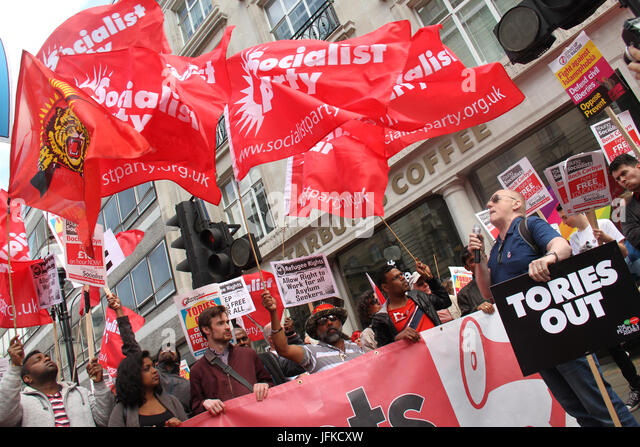 London, UK - 1 July 2017 - Demonstrators fly flags on Regent Street ahead of the national demonstration demanding - Stock Image
