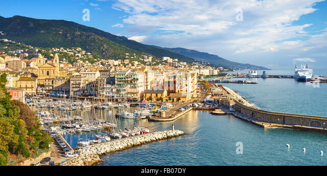 Aerial view at Bastia Port, Corsica Island, France - Stock Image