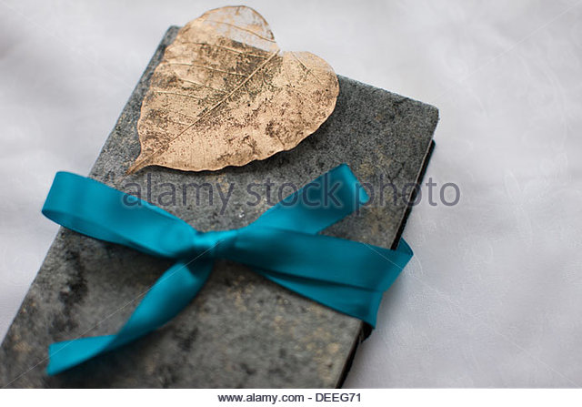 Close up of book tied with ribbon - Stock Image