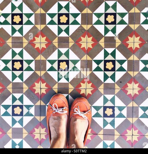 Looking down if Peranakan tiles - Stock Image