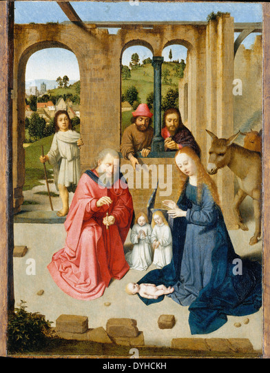 Gerard David The Nativity - Stock Image