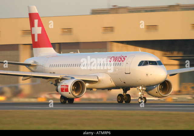 Swiss International Air Lines Airbus A319-112 at London Heathrow Airport - Stock Image