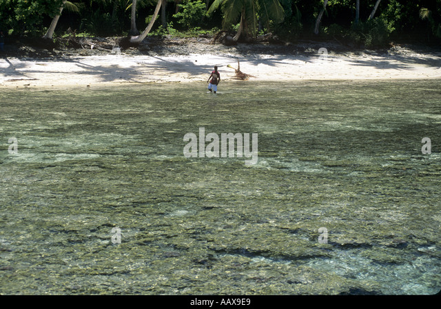 Shallow coral reef at low tide - Stock Image
