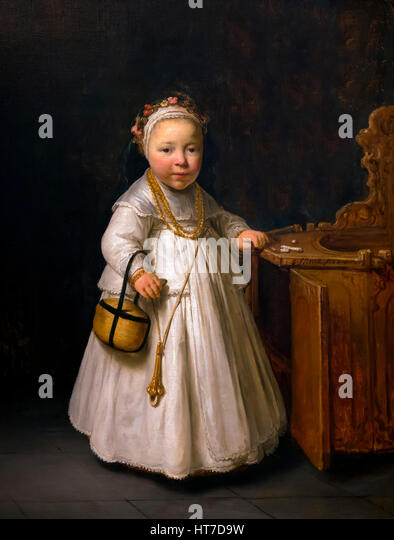 Girl by a High Chair, by Govert Flinck, 1640, Royal Art Gallery, Mauritshuis Museum, The Hague, Netherlands, Europe - Stock Image