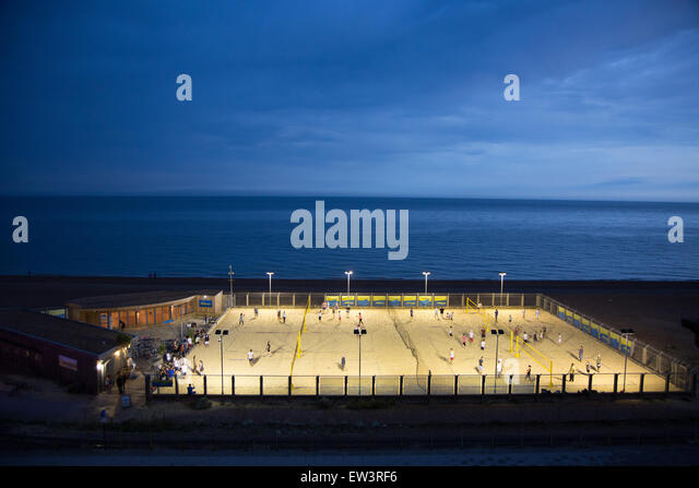Volleyball court at Brighton coast by night - Stock Image