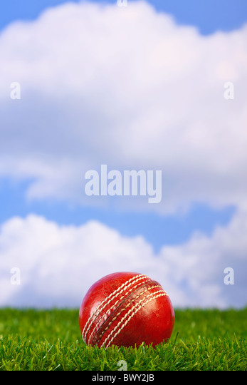 Photo of a cricket ball on grass with sky background. - Stock Image