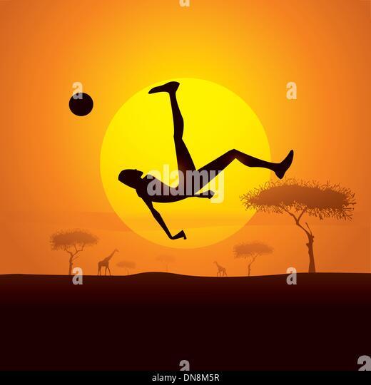 africa champion kick - Stock Image