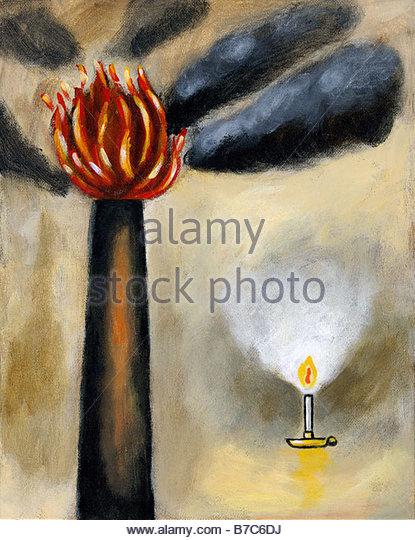 Smokestack And Candle - Stock Image