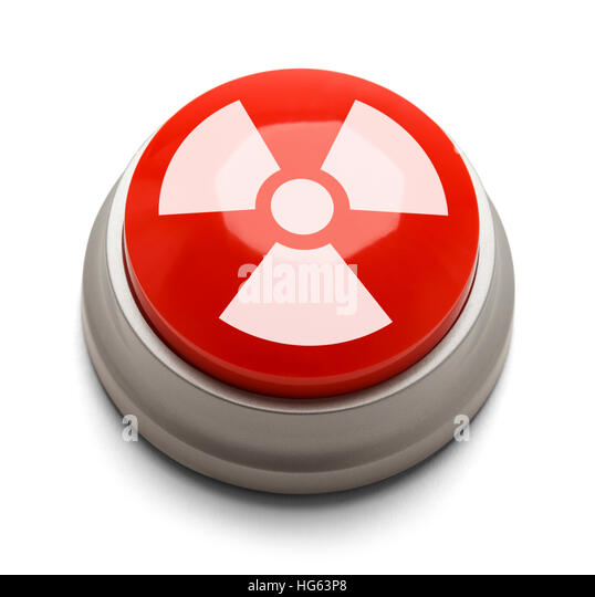 Red and White Nuke Button Isolated on White Background. - Stock Image