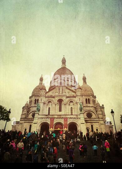 Basilique du Sacre-Cour, Basilica of the Sacred Heart of Paris or Sacre-Coeur Basilica, a Roman Catholic church - Stock Image