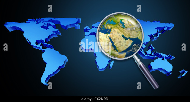 Planet earth middle eastern crisis with political issues of the persian gulf and crude oil with countries as Iran - Stock Image