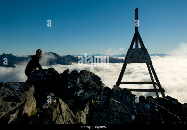At the summit of Mount Luxmore, Kepler Track, South Island, New Zealand - Stock Image