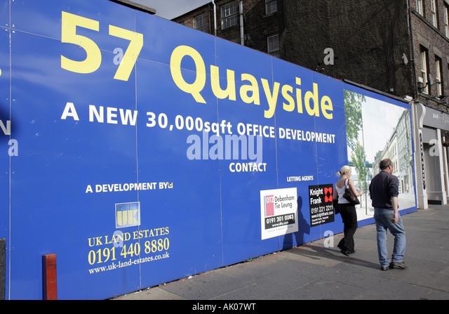 UK, England, Newcastle upon Tyne, Quayside, sign, office development, construction, - Stock Image