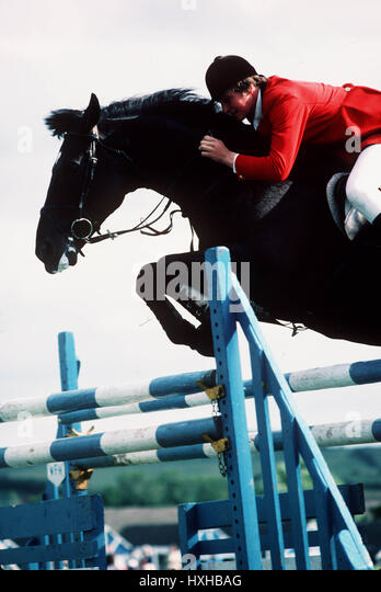 SHOW JUMPING BUTLINS FILEY 30 June 1981 - Stock Image