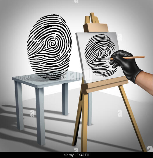 Identity theft concept as a criminal painting a copy of a fingerprint  as a security symbol for ID protection and - Stock-Bilder