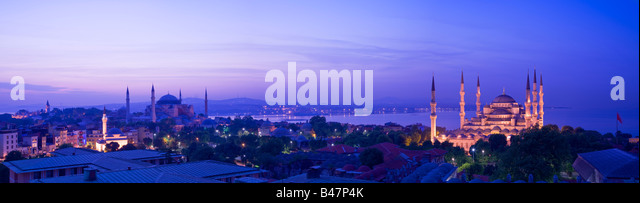 Turkey Istanbul Sultan Ahmet Mosque Blue Mosque and the Hagia Sophia Mosque - Stock Image