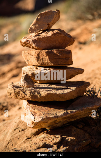 Cairn, Park Avenue Trail, Arches National Park, Moab, Utah USA - Stock Image