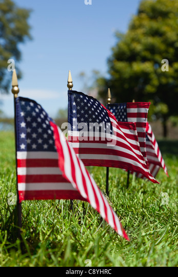 USA, Illinois, Metamora, Row of American flags on cemetery - Stock Image