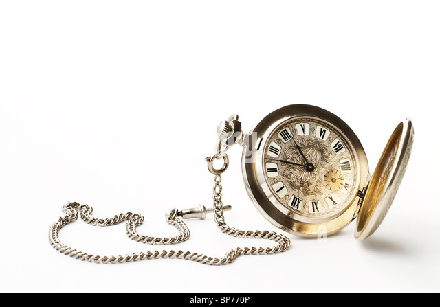 old pocket watch on white background - Stock Image