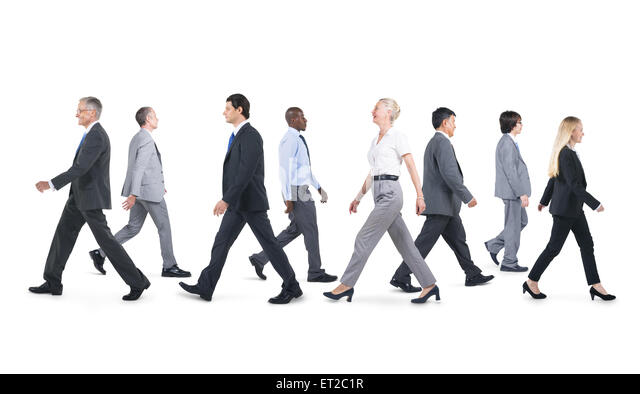 Mullti-ethnic group of business person walking - Stock Image