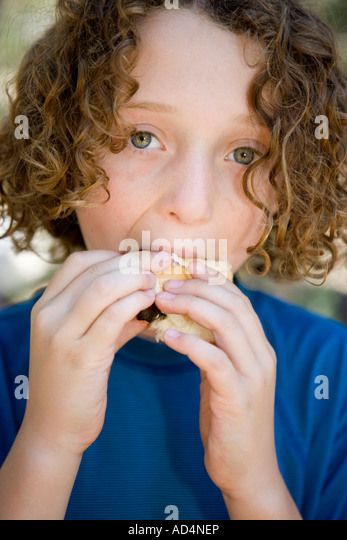 A young boy eating a sausage in a bread roll - Stock-Bilder