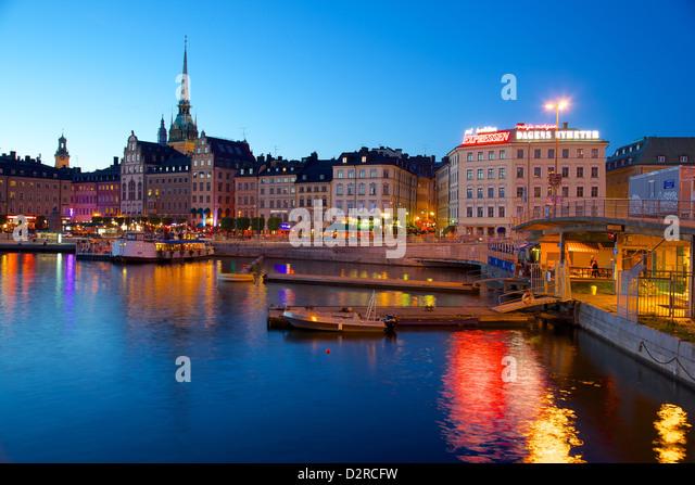 Gamla Stan at dusk, Riddarholmen, Stockholm, Sweden, Europe - Stock Image