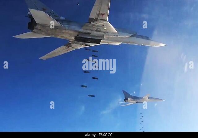 SYRIA. NOVEMBER 21, 2015. Tupolev Tu-22 long-range strategic bombers of the Russian Air Force's long-range aviation - Stock Image