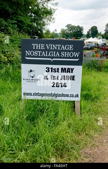 The Vintage Nostalgia Show sign at Stockton, near Warminster, Wiltshire, United Kingdom, 2014. - Stock-Bilder