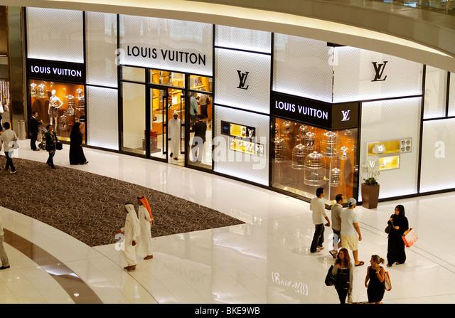 Dubai Shopping Mall Louis Vuitton Shop United Arab Emirates City - Stock Image
