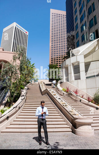 California CA Los Angeles L.A. Downtown Bunker Hill Steps Cardiac Hill 103 Steps stairway pedestrian route ascend - Stock Image