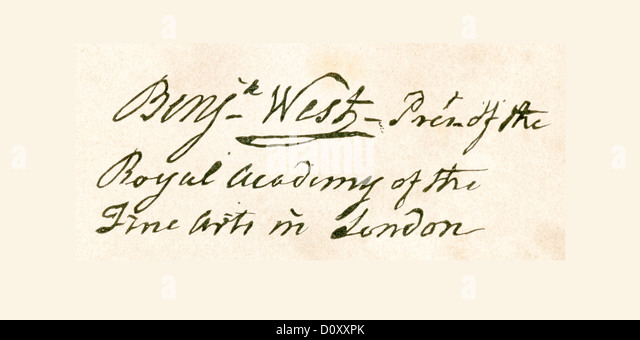 Signature of Benjamin West, 1738 – 1820. Anglo-American artist. - Stock Image
