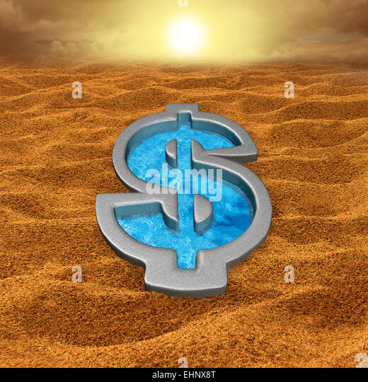 Financial relief and debt help concept as a dollar sign shaped swimming pool with fresh cool water in a hot dry - Stock Image