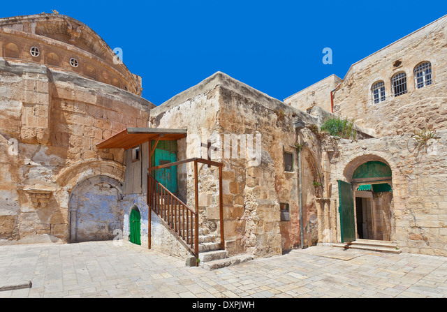 Coptic Orthodox Church courtyard situated on roof of the Church of the Holy Sepulchre in Jerusalem, Israel. - Stock Image